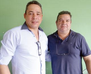 Sandro Amaral, da Mundial Cursos e o presidente da ACIARGS Noel Horácio