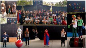 Alunos da Escola Marli Raia Reis durante apresentações em homenagem ao Dia do Circo